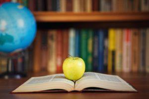 apple and book on background bookshelf